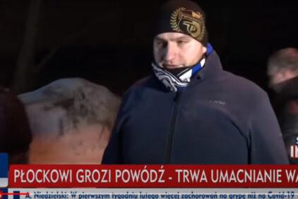 Kibic Wisły na antenie TVP o zagrożeniu powodziowym w Płocku